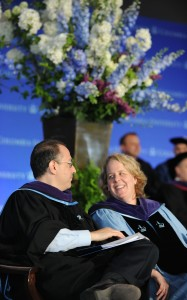 Keynote speaker Roberta Kaplan, right, talks with Dean David Schizer, who gave his last graduation address as dean. Schizer is returning to teaching.