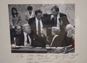 "A photo of Ron Weich with Ted Kennedy, hanging in Weich's office, includes an inscription from the late Massachusetts senator that reads in part: ""If I could clone you, I would."""